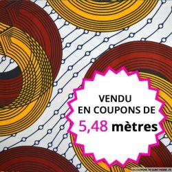 Wax africain circuit orange et rouge, vendu en coupon de 5,48 mètres