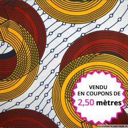 Wax africain circuit orange et rouge, vendu en coupon de 2,50 mètres