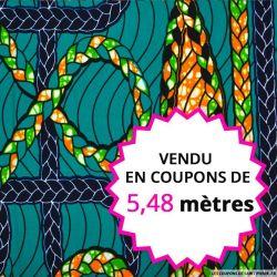 Wax africain tresse fond vert, vendu en coupon de 5,48 mètres