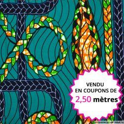 Wax africain tresse fond vert, vendu en coupon de 2,50 mètres
