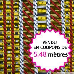 Wax africain cannelage multicolore, vendu en coupon de 5,48 mètres