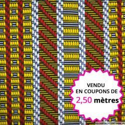 Wax africain cannelage multicolore, vendu en coupon de 2,50 mètres