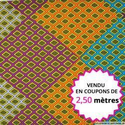 Wax africain mosaique multicolore, vendu en coupon de 2,50 mètres