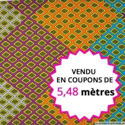 Wax africain mosaique multicolore, vendu en coupon de 5,48 mètres