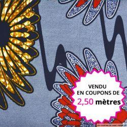 Wax africain fleurs bordeaux fond rayé, vendu en coupon de 2,50 mètres