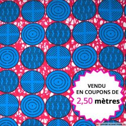 Wax africain rond bleu fond rose, vendu en coupon de 2,50 mètres