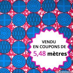 Wax africain rond bleu fond rose, vendu en coupon de 5,48 mètres