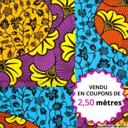 Wax africain patchwork fleurs, vendu en coupon de 2,50 mètres