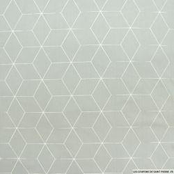 Coton imprimé cubisme fond gris