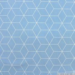 Coton imprimé cubisme fond ciel