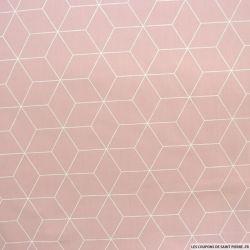 Coton imprimé cubisme fond rose