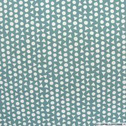 Coton imprimé mathématique fond vert de gris