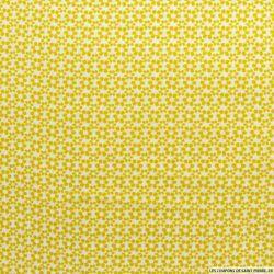 Coton imprimé 6 pétales moutarde fond blanc