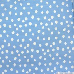 Coton imprimé tache ronde fond bleu