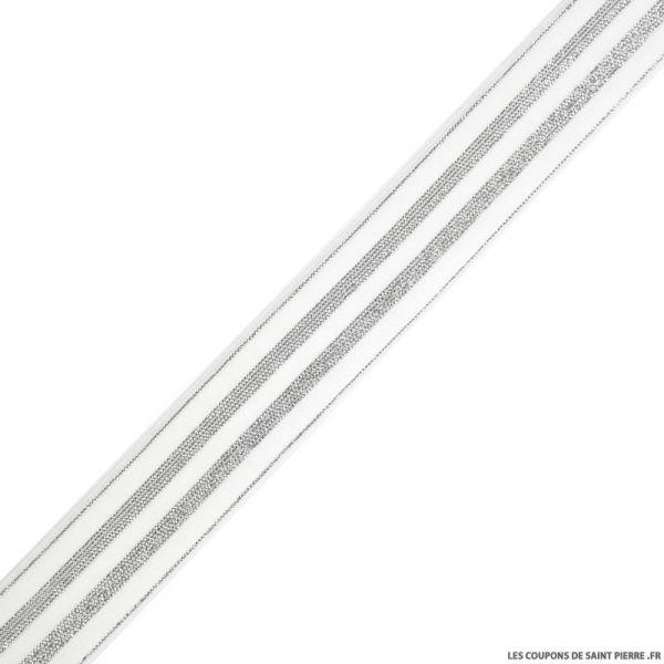 Elastique rayures lurex blanc argent - 30mm au mètre