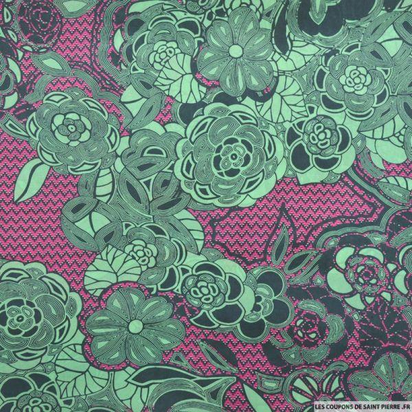 Crêpe de chine imprimé soie fleurs seventies fond fuchsia