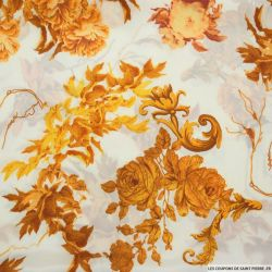 Crêpe de chine imprimé soie fleurs et dorures