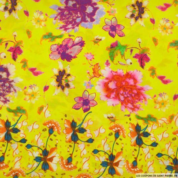 Crêpe de chine imprimé soie fleurs fluo