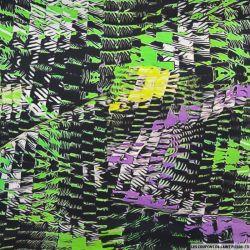 Crêpe de chine imprimé soie damier techno vert
