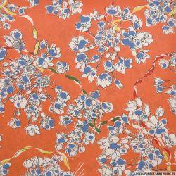 Crêpe de chine imprimé soie fleurs fond corail