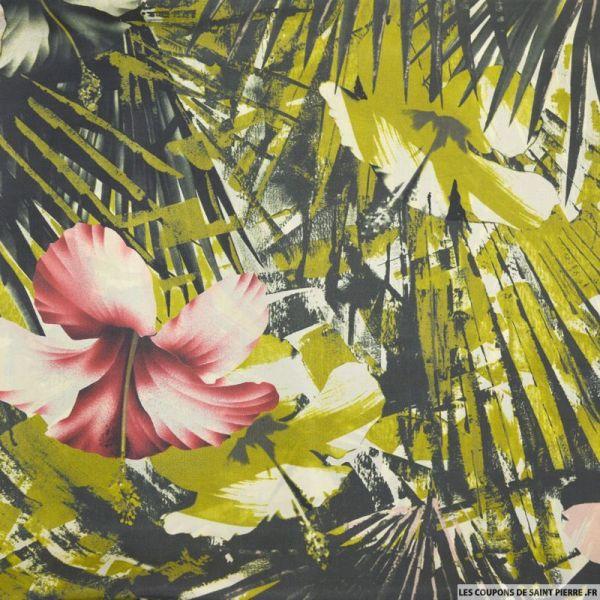 Satin de soie imprimé tropical