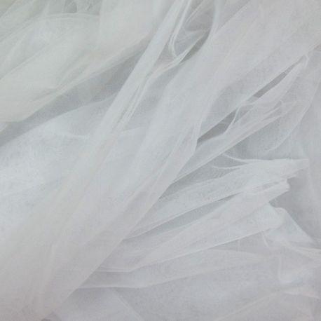 Tissu Tulle ou voile en polyester spécial mariage blanc au mètre