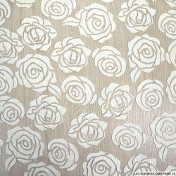 Jacquard dévoré polycoton fantaisie fleurs fond blanc