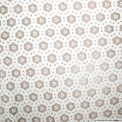 Jacquard dévoré polycoton fantaisie cercle entrelasé blanc