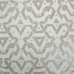 Jacquard dévoré polycoton graphique fond blanc