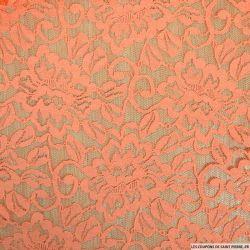 Dentelle polycoton florale saumon