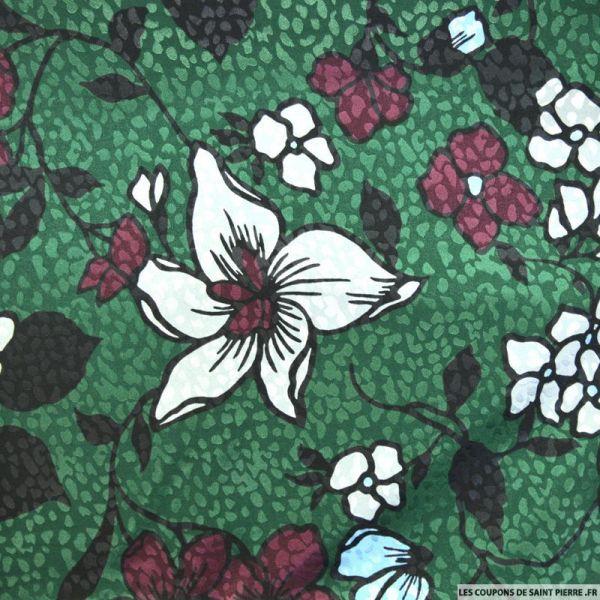 Satin polyester imprimé jacquard fleurs fond vert