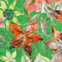 Jacquard dévoré polyester fleurs fond vert