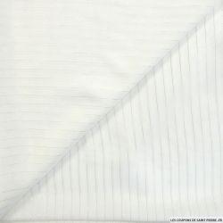 Mousseline polyester blanc rayé argent