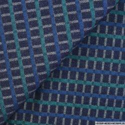 Jean's coton brut à carreaux bleu et vert