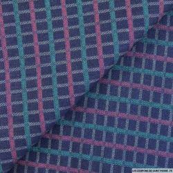 Jean's coton brut à carreaux vert et rose