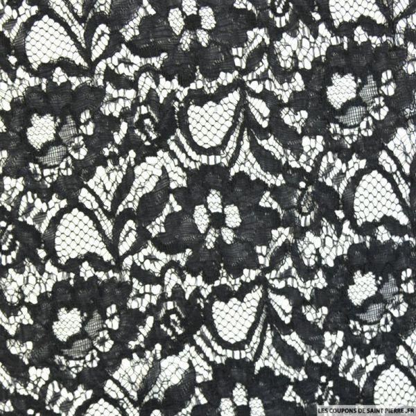Dentelle polycoton florale noir