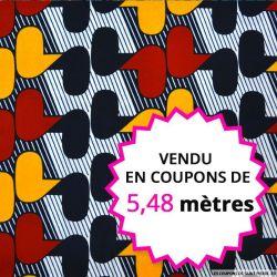 Wax africain vintage bordeaux et moutarde, vendu en coupon de 5,48 mètres