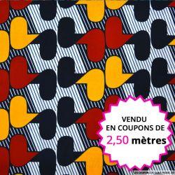 Wax africain vintage bordeaux et moutarde, vendu en coupon de 2,50 mètres