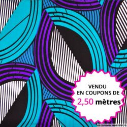 Wax africain demi cercle graphique violet et vert, vendu en coupon de 2,50 mètres
