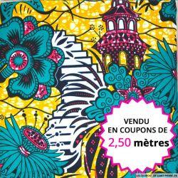 Wax africain kiosque et jardin fond orange, vendu en coupon de 2,50 mètres