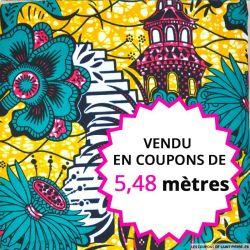 Wax africain bijou rouge fond orangé, vendu en coupon de 5,48 mètres