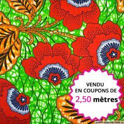 Wax africain fleurs rouge fond vert, vendu en coupon de 2,50 mètres