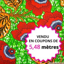 Wax africain fleurs rouge fond vert, vendu en coupon de 5,48 mètres