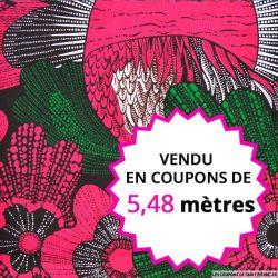 Wax africain plume rose et vert , vendu en coupon de 5,48 mètres