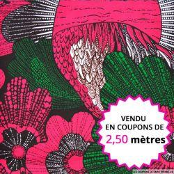 Wax africain plume rose et vert, vendu en coupon de 2,50 mètres