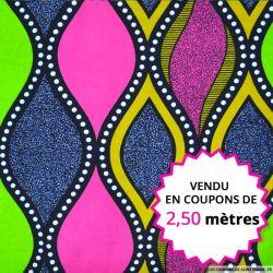 Wax africain design rose et vert, vendu en coupon de 2,50 mètres