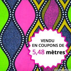 Wax africain design rose et vert, vendu en coupon de 5,48 mètres