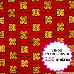 Wax africain arabesque fond bordeaux, vendu en coupon de 2,50 mètres
