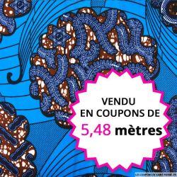 Wax africain arabesque fond bordeaux, vendu en coupon de 5,48 mètres