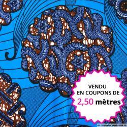 Wax africain aquatique, vendu en coupon de 2,50 mètres